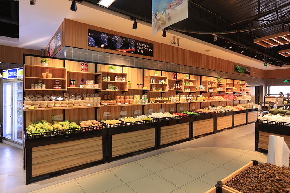 超市货架-蔬果货架(单面钢木系列)