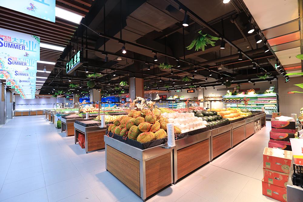 超市货架-蔬果货架(双面不锈钢木纹系列)