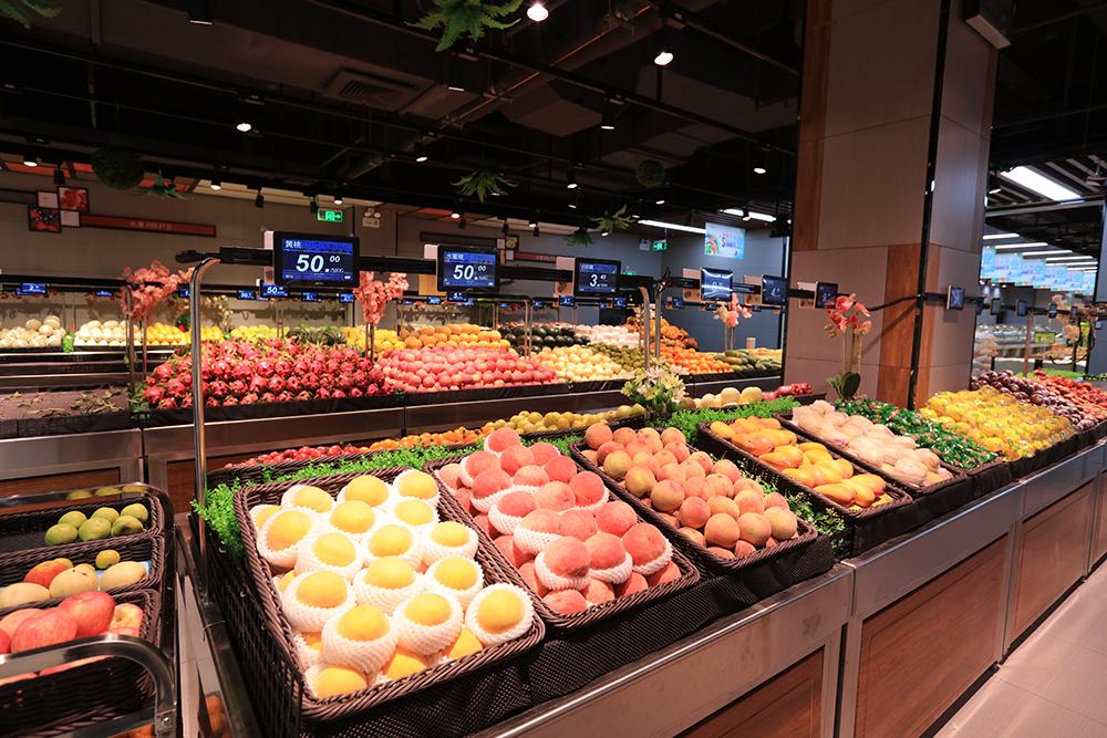 超市货架-蔬果货架(双面不锈钢配筐系列)