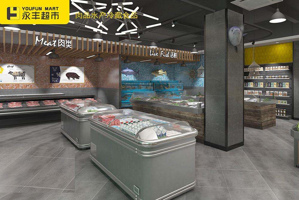 超市水产肉区柜