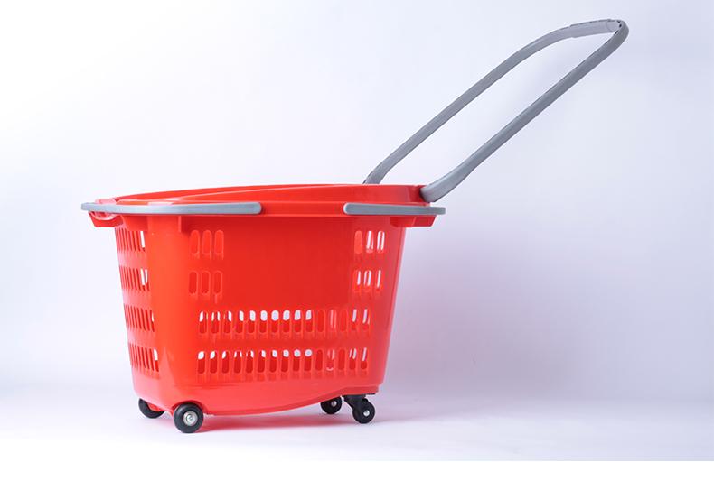 超市购物篮拉杆带轮 ,买菜框 ,塑料带轮购物框,手提篮,便利店购物拖车(乐存货架)
