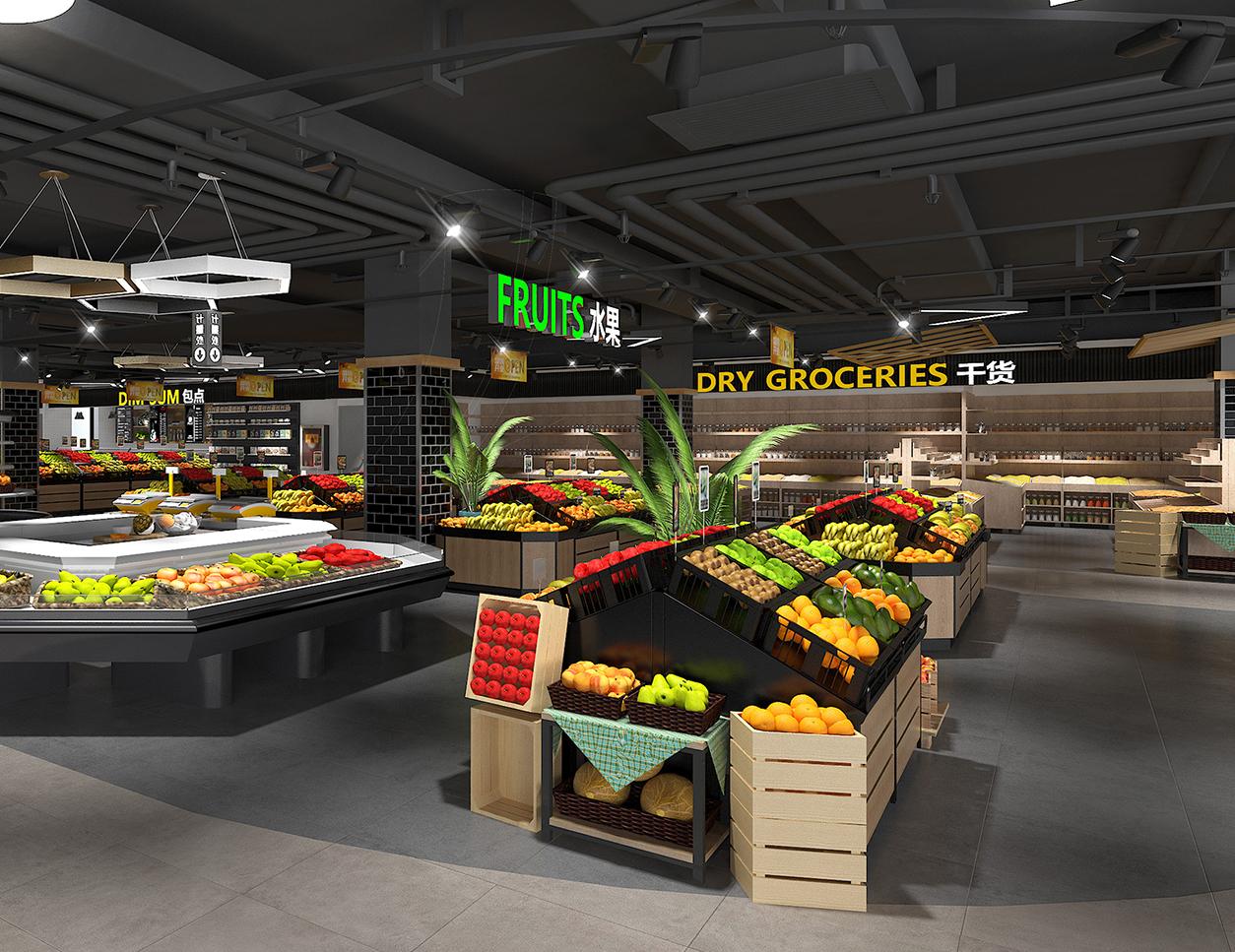 超市货架果蔬区