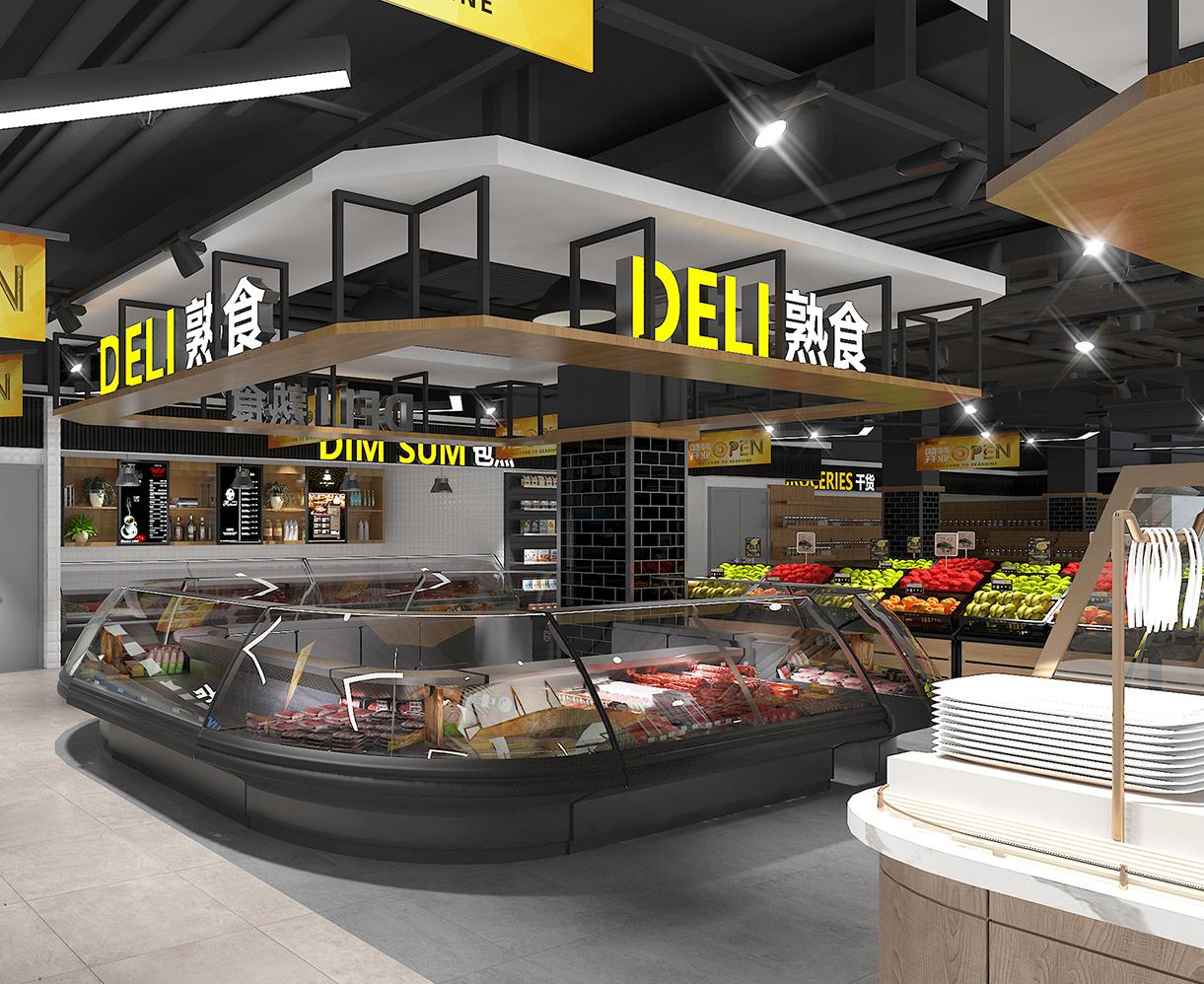 超市货架熟食区